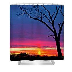 Sunset Sundog  Shower Curtain by Ricky L Jones