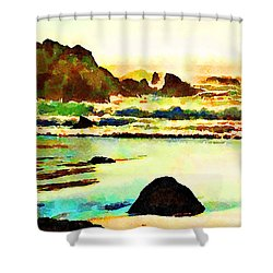 Shower Curtain featuring the painting Sunset Surf by Angela Treat Lyon