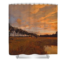 Shower Curtain featuring the painting Sunset Tilburg by Nop Briex