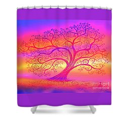 Shower Curtain featuring the painting Sunset Tree Cats by Nick Gustafson