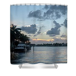 Sunset Tropical Canal Shower Curtain