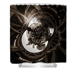Sunset Under An Iron Sky  - Tiny Planet Shower Curtain
