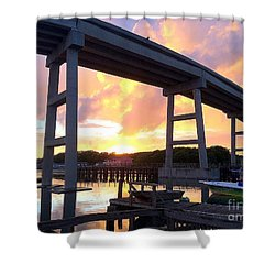 Sunset Under The Holden Beach Bridge Shower Curtain