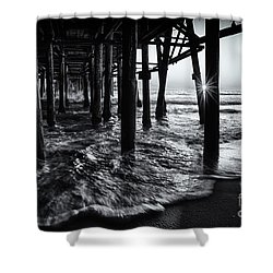 Sunset Under The Santa Monica Pier Shower Curtain