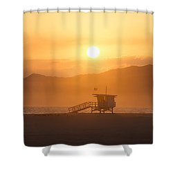 Shower Curtain featuring the photograph Sunset Venice Beach  by Christina Lihani