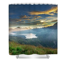 Sunset View From Mt Rinjani Crater Shower Curtain