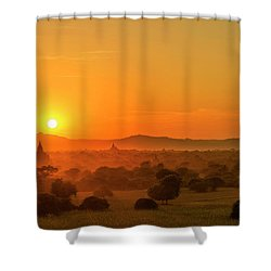 Sunset View Of Bagan Pagoda Shower Curtain