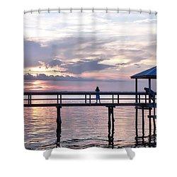 Sunset Watchers On The Pier Shower Curtain
