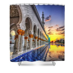 Sunset Water Path Temple Shower Curtain