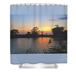 Sunset West Of Myer's Bagels Shower Curtain