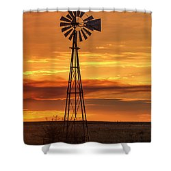 Sunset Windmill 01 Shower Curtain