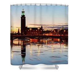 Sunset With Cityhall Of Stockholm Shower Curtain by Anastasy Yarmolovich