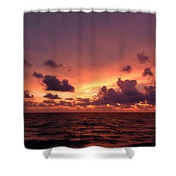 Sunset With Deep Purple Clouds Shower Curtain