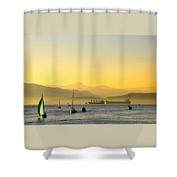 Sunset With Green Sailboat Shower Curtain