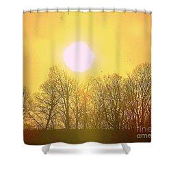 Sunset Yellow Orange Shower Curtain