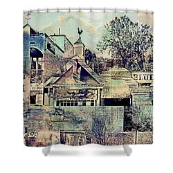 Shower Curtain featuring the digital art Sunsets And Blue Point Collage by Susan Stone