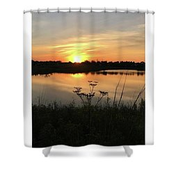 Amber Sunset By The Lake Shower Curtain