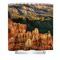 Sunsets In The Canyon Shower Curtain by Rebecca Hiatt