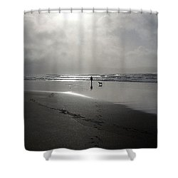 Sunsetting Beach Walk Shower Curtain by Ruth Parsons