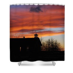 Sunsetting Behind The Historic Schoolhouse. Shower Curtain