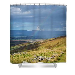 Shower Curtain featuring the photograph Sunshine And Raining Down With Rainbow On The Countryside In Ire by Semmick Photo
