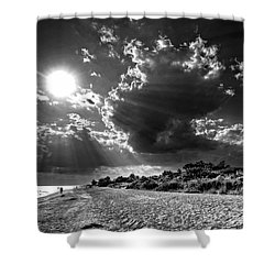 Sunshine On Sanibel Island In Black And White Shower Curtain by Chrystal Mimbs