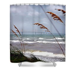 Sunshine Skyway Bridge Viewed From Fort De Soto Park Shower Curtain