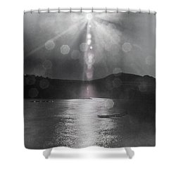 Shower Curtain featuring the photograph Sunspots Over Ladybower Black And White by Scott Lyons