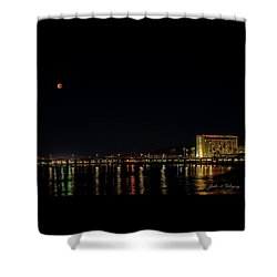 Super Blue Blood Moon Over Ventura, California Pier  Shower Curtain