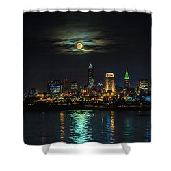 Super Full Moon Over Cleveland Shower Curtain
