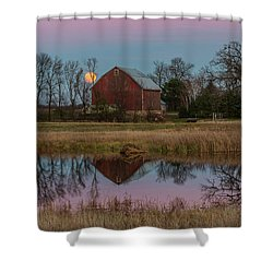 Super Moon And Barn Series #1 Shower Curtain