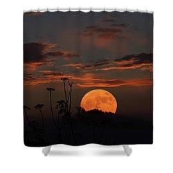 Super Moon And Silhouettes Shower Curtain