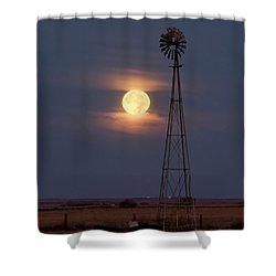 Super Moon And Windmill Shower Curtain by Rob Graham