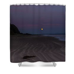 Super Moon At Downhill Beach Shower Curtain