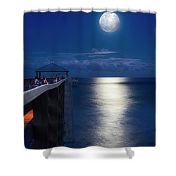 Shower Curtain featuring the photograph Super Moon At Juno by Laura Fasulo