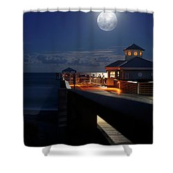 Shower Curtain featuring the photograph Super Moon At Juno Pier by Laura Fasulo