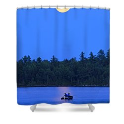 Super Moon At The Lake Shower Curtain by Barbara West