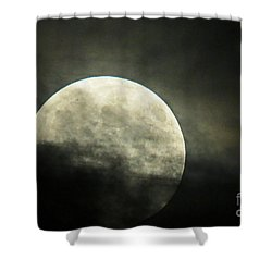 Super Moon In Clouds Shower Curtain