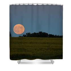 Shower Curtain featuring the photograph Super Moon Over A Bean Field by Mark McReynolds
