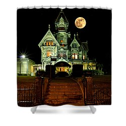 Super Moon Over Carson Mansion Shower Curtain