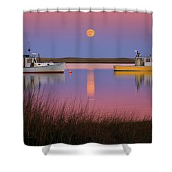 Super Moon Over Nauset Beach Cape Cod National Seashore Shower Curtain by Dapixara Art