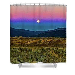 Super Moon Over Taos Shower Curtain