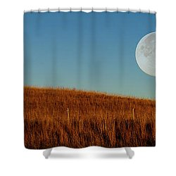 Super Moon Over The Prairie Shower Curtain