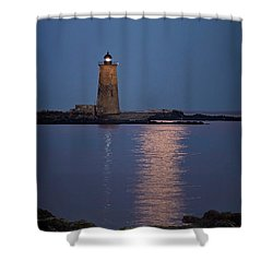 Super Moon Over Whaleback Lighthouse Shower Curtain