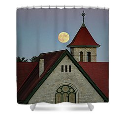 Super Moon Rising Shower Curtain