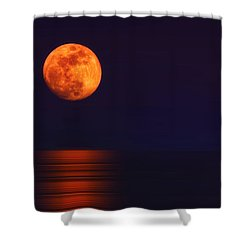 Super Moon Rising Over Water Shower Curtain