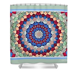 Super Quilt Green Border Shower Curtain