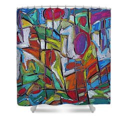 Shower Curtain featuring the pastel Super Slushy Cherries On Top by Dianne  Connolly