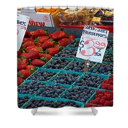 Super Sweet Blueberries Shower Curtain