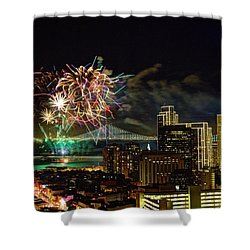 Superbowl 50 Fireworks From Atop Russian Hill Shower Curtain